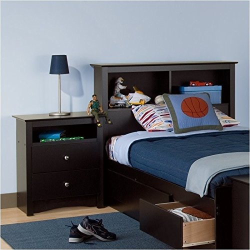 Sonoma Black Twin Bookcase Headboard (Prepac Sonoma Black Twin Wood Bookcase Headboard 2 Piece Bedroom)