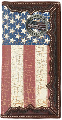 (Custom Proud to be American. American Flag Long Wallet with Distressed United States Flag)