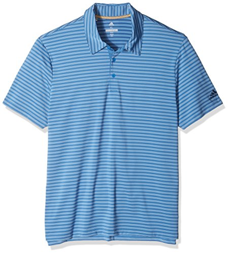 adidas Golf Men's Ultimate 2-Color Stripe Polo, Ash Blue S, Small