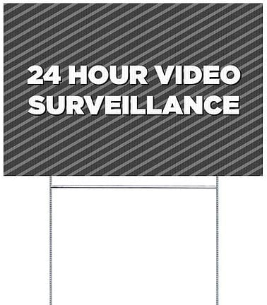 CGSignLab 24 Hour Video Surveillance 5-Pack 18x12 Stripes Gray Double-Sided Weather-Resistant Yard Sign