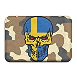 Swedish Flag Skull Indoor Outdoor Entrance Rug Non Slip Standing Mat Doormat Rugs Home