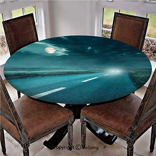 (Elastic Edged Polyester Fitted Table Cover,Highway Road to Hell under Storm Clouds Asphalt Twilight Terror Image Artwork,Fits up 56