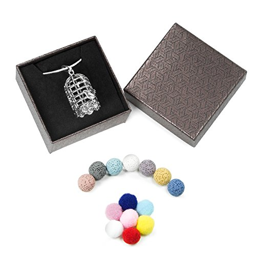 Aromatherapy Essential Oil Diffuser Necklace 7 Lava Stones and 7 Felt Balls 24