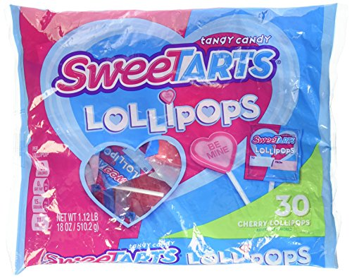 Wonka Sweet Tarts Lollipops - 30 Ct, - Heart Shaped Cherry Flavor (Sweet Heart Sweets)