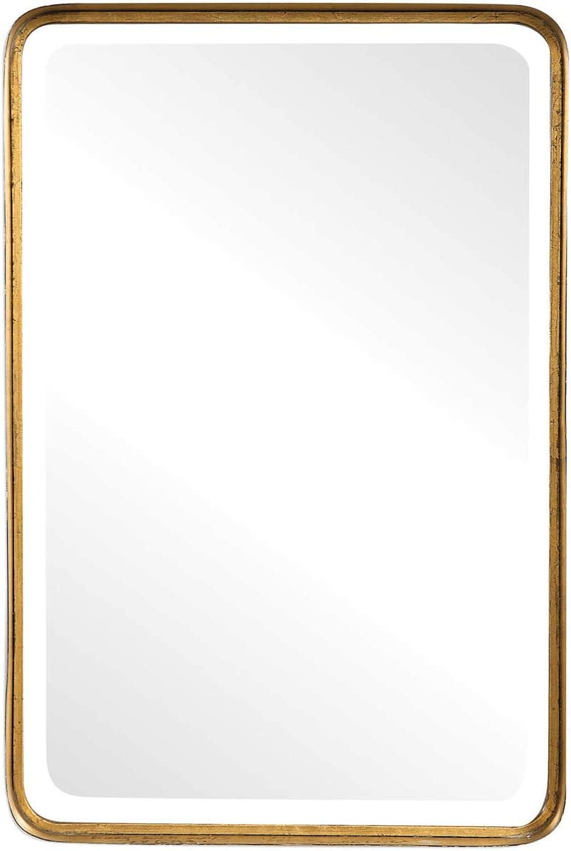 Uttermost Crofton Vanity Mirror in Antique Gold Finish Gold Framed Rectangle Deep Set Design 20 W X 30 H Rectangular Gold Wall Mirror