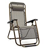 DT Relax Arm Rest Chair Lounger Recliner Patio Outdoor Folding Portable Sun Garden (Khaki)