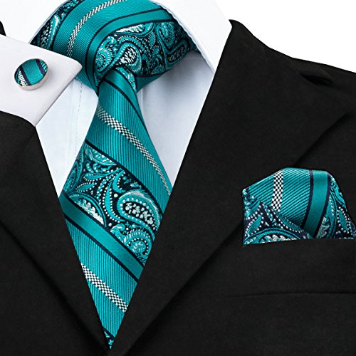 Hi-Tie Silk Ties for Men Classic Paisley Jacquard Tie Set with Pocket Square Cufflinks Gift Box