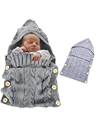 Baby Swaddle, Vandot Unisex Envelope Newborn Babies Toddle Infant Sleeping Bags Light Weight Soft Warm Crochet Knitted Blanket Swaddling Sleep Sack Stroller Wrap Moses Basket Pushchairs Bunting Bags for Stroller Prams Buggies Bike Trailer Car Seats Photo Props Blankets - GREY GRAY (0-12 Months)