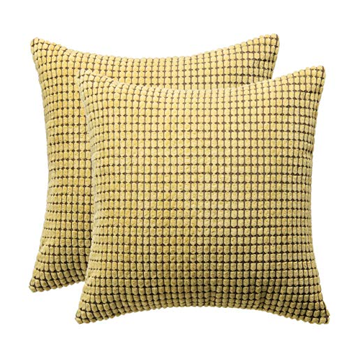 (March Flower Throw Pillow Covers Cases for Couch Sofa Bed Corduroy Corn Striped Cushion Case Decorative Square Pillow Case Couch Pillow Shells 18 x 18 Inch,Set of 2 (Gold))