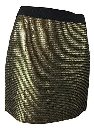 Elie Tahari Women's Cindy Metallic A-Line Mini Skirt in Black & Gold Stripe (14 Apparel)