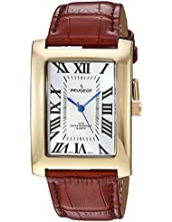 Peugeot Mens Vintage Rectangular Quartz Metal and Leather Casual Watch, Color:Brown (Model: 2051GBR)