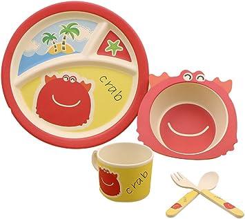 LINAG Platos Infantiles Niños Tazón Plato Taza Fibra De Bambú Bebé ...