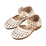 lakiolins Toddler Girls Love Heart Hollow Flower Ankle Strap Ballet Flats Princess Dress Shoes White Size 24