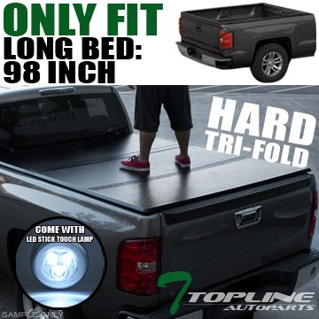 Topline Autopart Solid Tri Fold Hard Truck Bed Tonneau Cover With LED Touch Lamp JR For 99-16 Ford F250 / F350 / F450 Super Duty 8 Feet ( 96