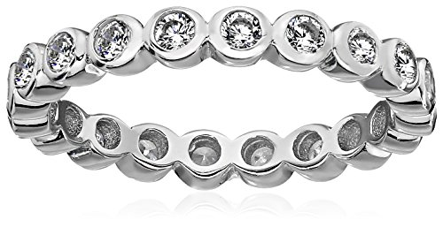 Sterling Silver Bezel Set Cubic Zirconia Eternity Ring, Size 6