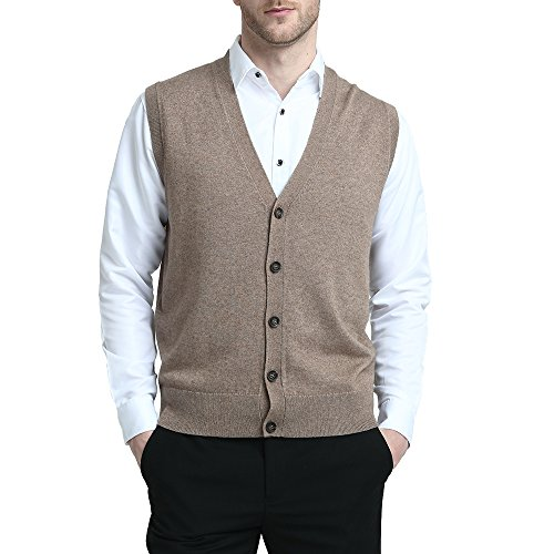Kallspin Relaxed Fit Mens V-Neck Vest Sweater Cashmere Wool Blend Front Button (Coffee, L)