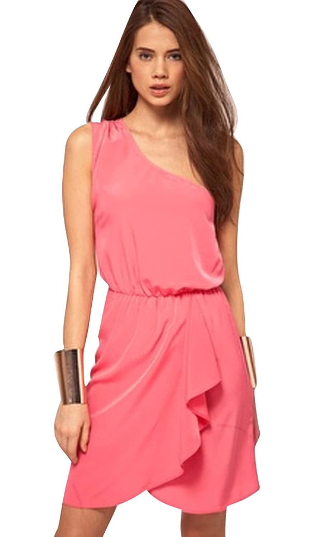 Molly Frauen Lässig Schlank Solide Farbe Unregelmäßig Schräg Schulter Kleid