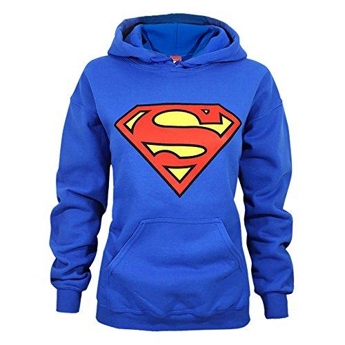(Superman Womens/Ladies Shield Logo Hoodie (L) (Blue))