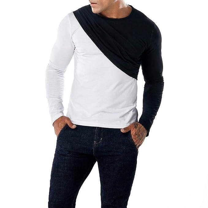 Blusa de Hombre de BaZhaHei, Hombre de Camisas de Ropa Delgada de Patchwork Casual para