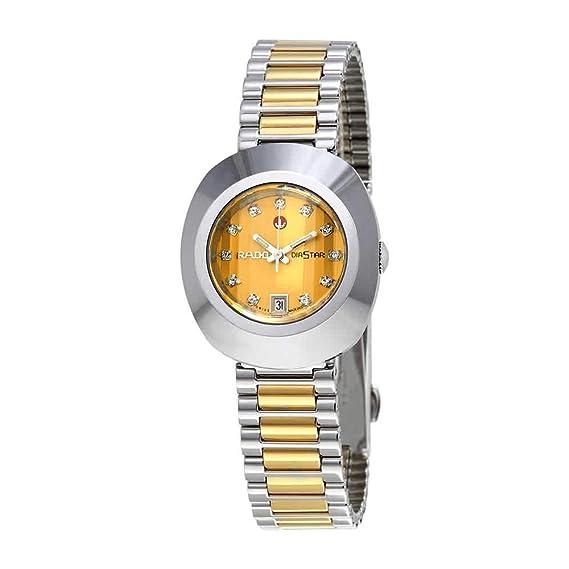 6e4b3c6cb4941 Rado Original Diastar Gold Tone Dial Stainless Steel Mens Watch R12403633:  Amazon.ca: Watches