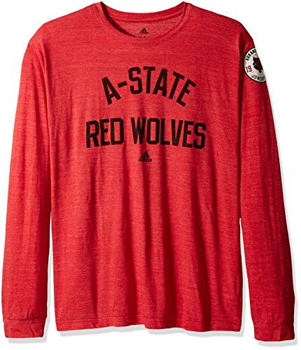 (adidas NCAA Arkansas State Red Wolves Adult Men Arched Heritage Tri-Blend L/S Tee, Large, Power Red Heathered)