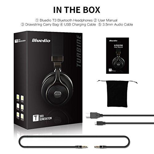 Bluedio T3 Extra Bass Bluetooth Headphones On Ear with Mic, 57mm Driver Folding Wireless Headset, Wired and Wireless headphones for Cell Phone/ TV/ PC (Black)