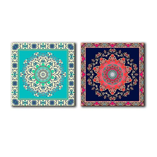 2 Panel Square Abstract Floral Patterns x 2 Panels