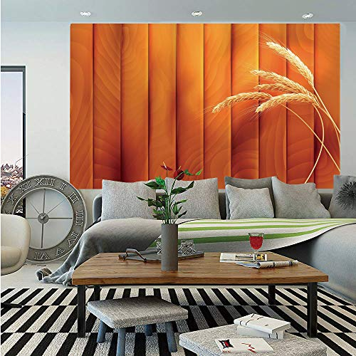 (Harvest Wall Mural,Wheat Spikes on Wooden Planks Life in The Countryside Themed Agriculture Print Decorative,Self-Adhesive Large Wallpaper for Home Decor 55x78 inches,Orange Yellow)
