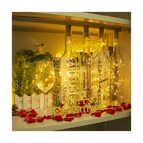 Luci per Bottiglia (9 pezzi), Litogo Luci Tappo LED a Batteria per Bottiglie, Filo di Rame Led Decorative Stringa Luci da Interni e Esterni per Festa, Giardino, Natalizie, Matrimonio (Bianco Caldo) 5 spesavip