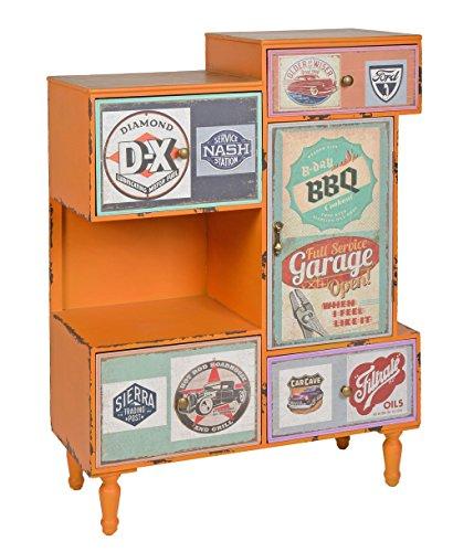 ts-ideen-Kommode-Regal-Schrank-Minibar-Ablage-Vintage-Antik-Industrie-Design-Used-Style-Holz-Orange-mit-4-bunten-Schubladen-Fach-und-Tr