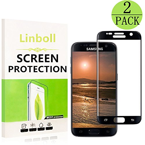 Black - [2 Pack] Samsung Galaxy S7 Screen Protector, Linboll - Full Screen Coverage, 9H Hardness, Anti-Scratch, HD Ultra-clear, Bubble Free,Tempered Glass Screen Protectors For Galaxy S7