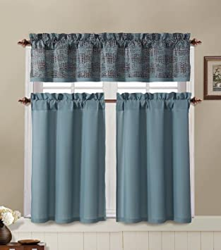 Amazon.com: Blue and Brown Kitchen Window Curtain Set : 2 Tier ...
