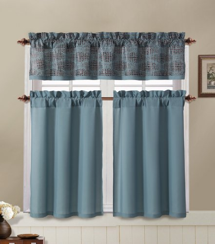 Angelica Blue and Brown Kitchen Window Curtain Set : 2 Tier Panel Curtain,  1 Alligator Print Valance