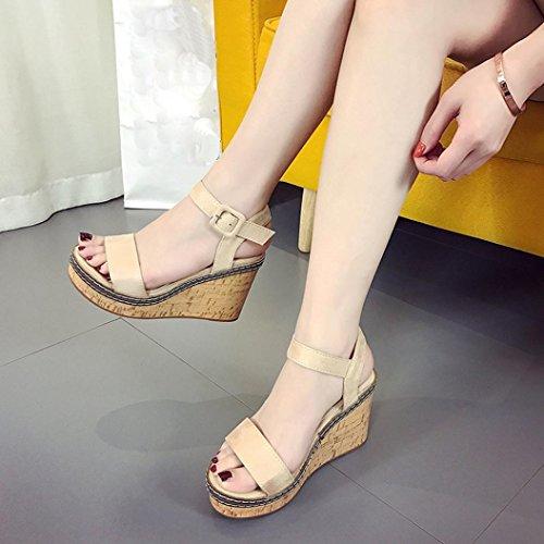 Hemlock Women Lady High Heel Sandals Wedge Sandals Peep Toe Sandals (US:7, Beige-3)