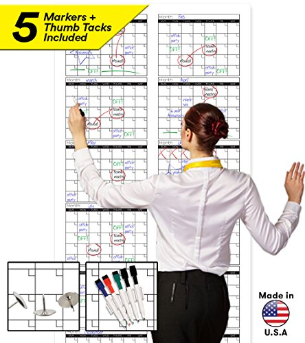 Large Dry Erase Wall Calendar - 72' x 36' - Blank 2018-2019 Reusable Annual Planner - Academic Fiscal Year Office Project 12 Month Poster - Laminated Giant Jumbo Oversized Erasable Undated Calander