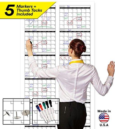 Monthly Academic Wall Calendar (Large Dry Erase Wall Calendar - 72