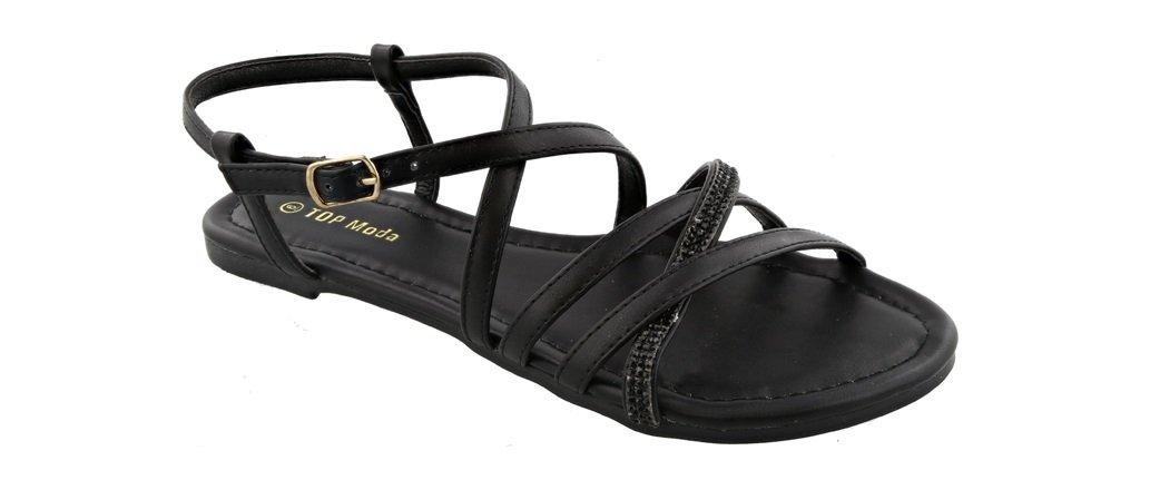 Top Moda Karen-5 Women's Ankle Strap Flat Sandal with Rhinestones (7.5, Black)