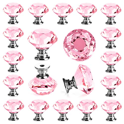 25 pcs Crystal Pink Glass Drawer Pulls 30 mm Decorative Knobs for Kitchen Bathroom Cabinet, Dresser and Cupboard by DeElf ()