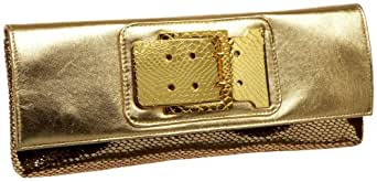 Prezzo Embossed Snake Metallic Clutch,Gold,one size