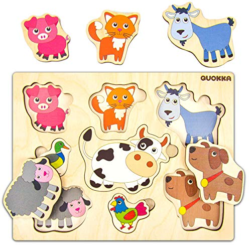 Quokka Wooden Farm Animals Puzzle for Toddlers | Peg Puzzle for Kids 2-4 Years | Developmental Toy for Baby | Eco Wood Pegged Shapes for Logical Thinking | Size 7.5' x 9.8'