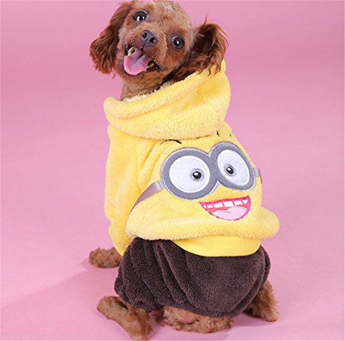 NACOCO Pet Clothes Winter Dog Clothes Minion Costumes Fleece Dog Hoodies Pet Clothing (Yellow, (Minion Dog Costumes)