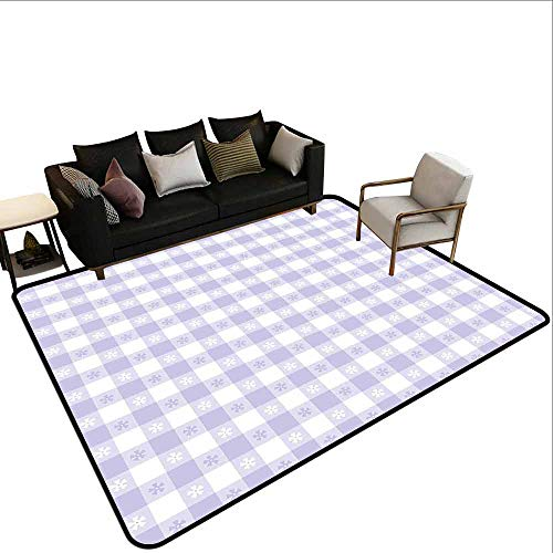 Children's Toy Carpet Lavender,Pastel Colored Classic Gingham Check Pattern with Delicate Small Blossoms,Lavander White