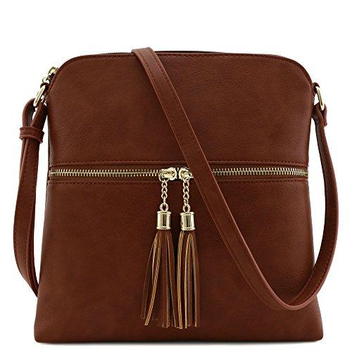 Tassel Zip Pocket Crossbody Bag Coffee