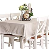 LINENLUX Everyday Kitchen Rectangular Tablecloth with Lace 6 Piece Table mat(White,55.1x86.6In) …