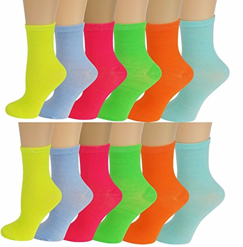 Kids Slouch - 12 Pairs Pack Kids Girls Colorful Creative Fun Novelty Design Crew Socks (4-6, Neon Color)