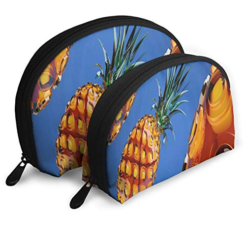 - Makeup Bag Crystal Pineapple In The Sky Handy Half Moon Clutch Pouch Bags Set Case For Women,Girls 2 Piece