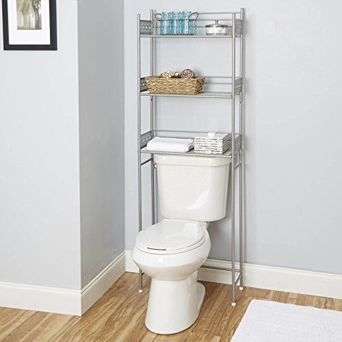 Bathroom Decor Storage Shelves Space Saver (Nickel) (Mirror Closet Sliding Doors Home Depot)