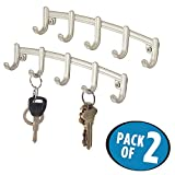 mDesign Wall Mount Key Rack Organizer for Entryway, Kitchen - Pack of 2, 5 Hook, Satin