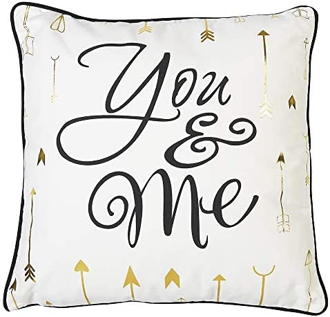 Roman Decorative Throw Pillow with Insert, You and Me, Printed Traditional Gold Arrows Design, 18 Square, Piping, White, Black and Gold, Hidden Zipper Closure