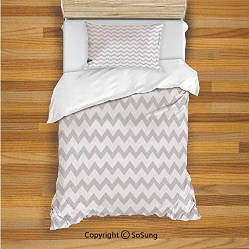 SoSung Grey and White Kids Duvet Cover Set Twin Size, Chevron Pattern Zigzag Geometrical Arrow Lines Stripes Abstract Print Decorative 2 Piece Bedding Set with 1 Pillow Sham,Pale Grey White]()